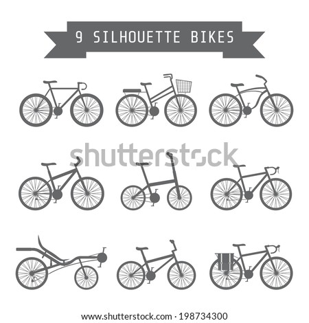 set of silhouette bicycle, flat style - stock vector