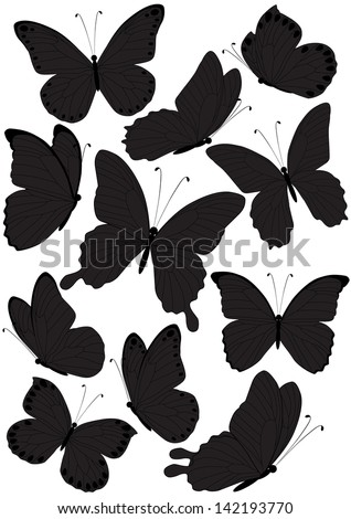 set of silhouette butterflies isolated on white background