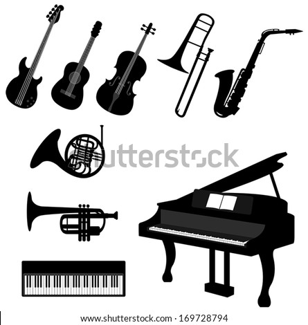 Set of silhouette classical and jazz musical instrument such as piano keyboard violin viola acoustic guitar  saxophone trumpet icon set, create by vector