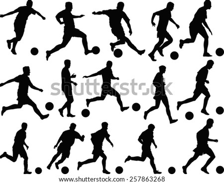 set of silhouette footballers - stock vector