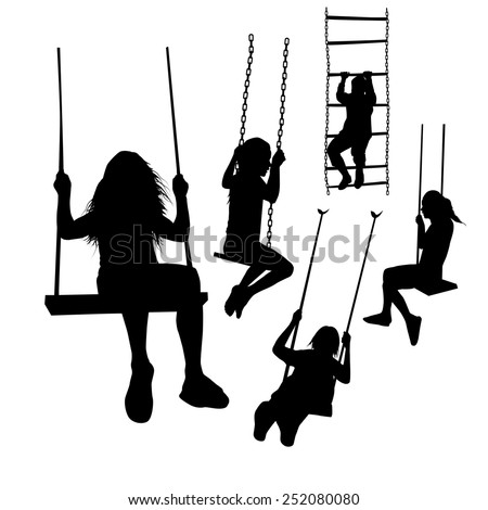 set of silhouette girl on a swing. Vector - stock vector