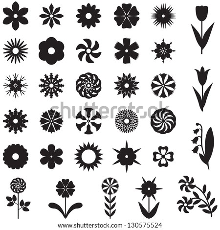 Set of 33 silhouette images of different flowers - stock vector