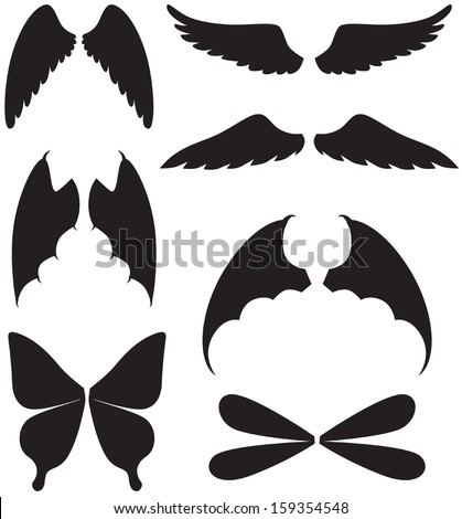 Set of silhouette images of  Eagle Wing Silhouette