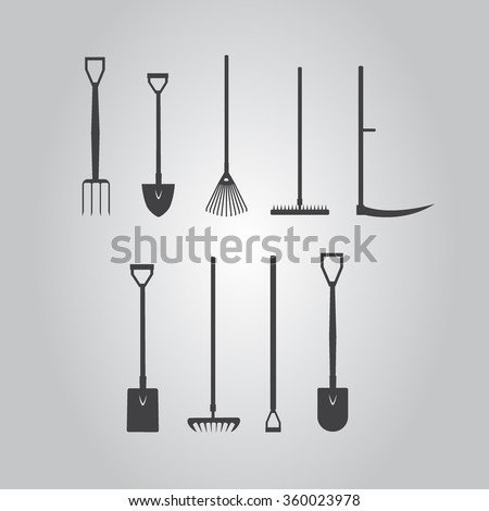 Set of  silhouette images stickers with garden tools. fork, spade, hoe, rake, lawn rake vector eps10 illustration.  - stock vector