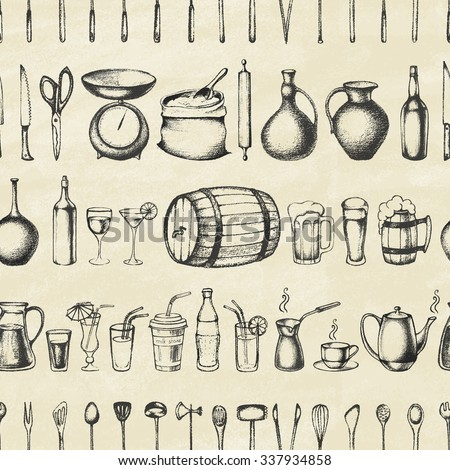 Set of silhouette kitchen tools and set of different hand drawn beverages. Doodle style. Set of Cutlery. Retro vintage style. Seamless pattern. Vector illustration. - stock vector