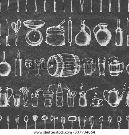 Set of silhouette kitchen tools and set of different hand drawn beverages on the blackboard. Doodle style. Set of Cutlery. Retro vintage style. Seamless pattern.Vector illustration. - stock vector