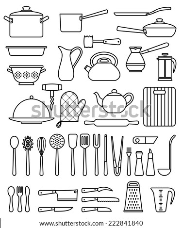 Set of silhouette kitchen utensils and collection of cookware icons, cooking tools and kitchenware equipment - stock vector