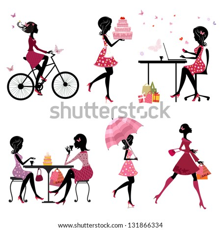 Set of silhouette of beautiful girls on vacation - stock vector