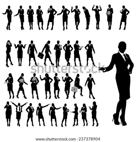 set of silhouette of businesswoman in different poses - stock vector