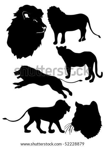 set of silhouette of lion