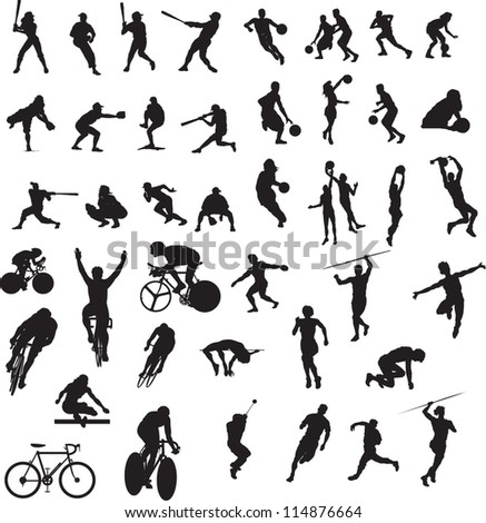 set of silhouette of people
