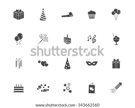 set of silhouette party icons