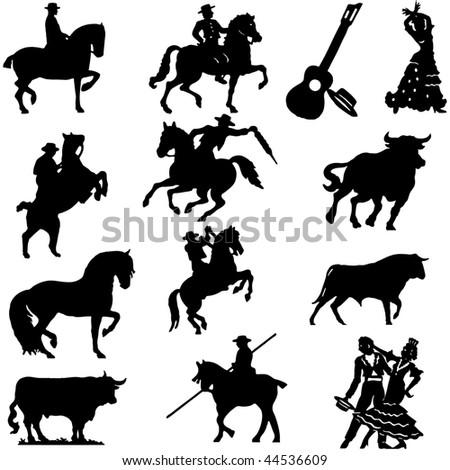 Set of silhouette typical spanish flamenco vector illustration  Bullfighter, bull - stock vector