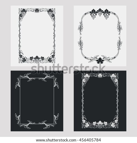 Set of silhouette vertical frames. Design element for banners, labels, prints, posters, web, presentation, invitations, weddings, greeting cards, albums. Vector clip art. - stock vector