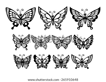 Set of silhouette  wonderful butterflies. Vector illustration EPS 10 - stock vector
