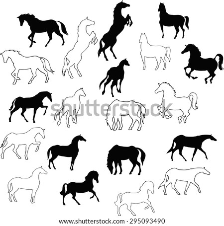 Set of 10 silhouettes and outlines of horses. Horses run, stand- collection of vector drawings. - stock vector