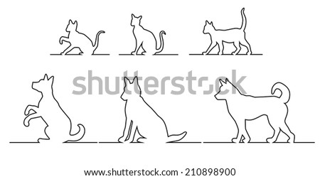 Set of silhouettes, black outline of dogs and cats in different poses, going, sitting and playing on the horizontal line - stock vector