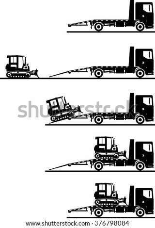 Set of silhouettes car auto transporter and dozer isolated on white background in different positions. Vector illustration.