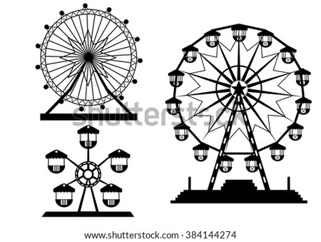 Set of silhouettes Ferris Wheel from amusement park, vector illustrations - stock vector
