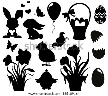 Set of silhouettes for Easter. - stock vector