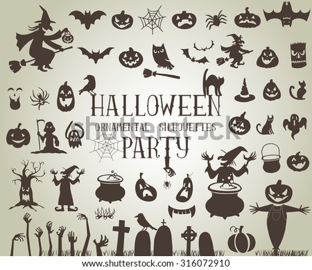 Set of silhouettes for Halloween party