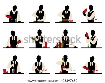 Set of silhouettes of a bartender prepares cocktails vector stock  illustration