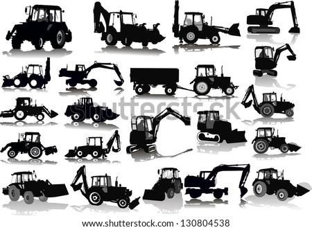 Set of 21 silhouettes of a tractors of road service - stock vector