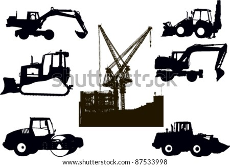 Set of silhouettes of building techniques - stock vector