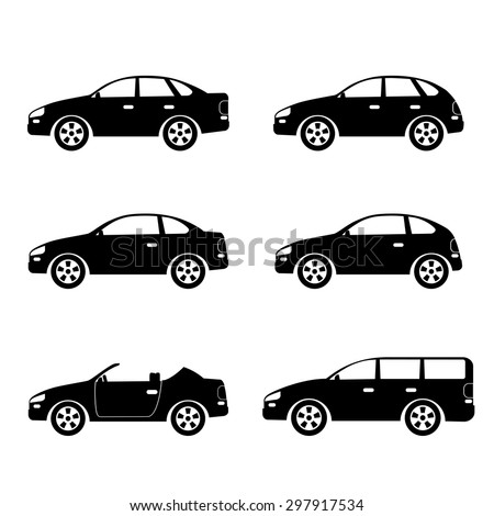 Set of silhouettes of cars on the white background.