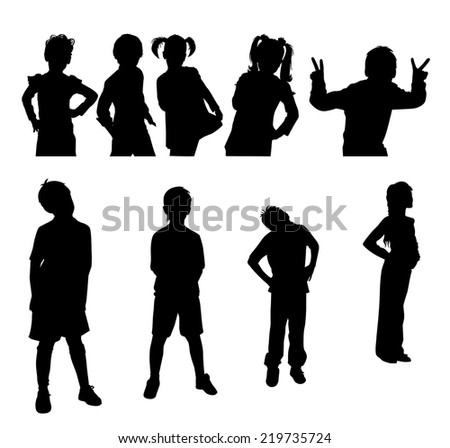 set of silhouettes of children on a white background vector - stock vector