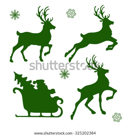 set of silhouettes of Christmas reindeer and Santa. vector illustration - stock vector