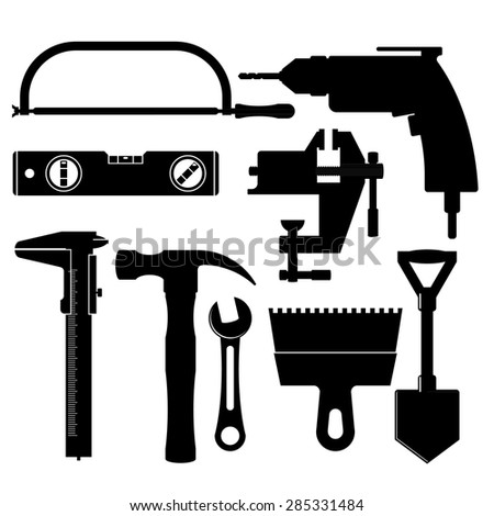 set of silhouettes of construction tools - stock vector