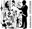 Set of silhouettes of construction workers and tools on a white background. Vector illustration. - stock vector