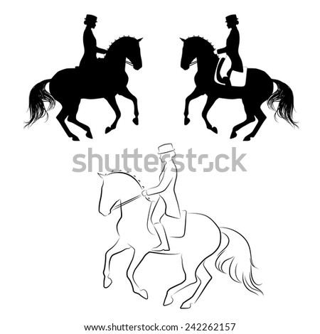 Set of 3 silhouettes of dressage horse with rider performing pirouette