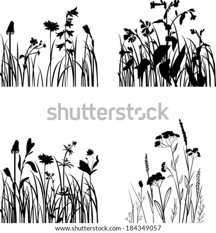 Set of silhouettes  of flowers and grass, vector illustration