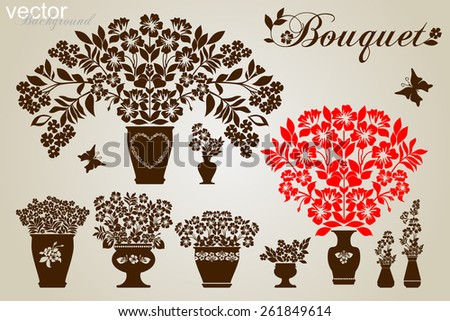 Set of silhouettes of flowers in pots and vase. Vector illustration - stock vector