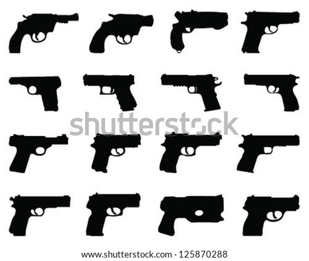 Set of silhouettes of guns-vector - stock vector