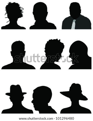 Set of silhouettes of heads in black, vector - stock vector