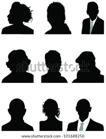 Set of silhouettes of heads in black 2, vector