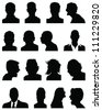 Set of silhouettes of heads 5,vector - stock photo