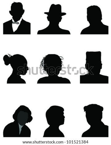 set of silhouettes of heads, vector - stock vector
