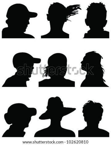Set of silhouettes of heads 3, vector - stock vector