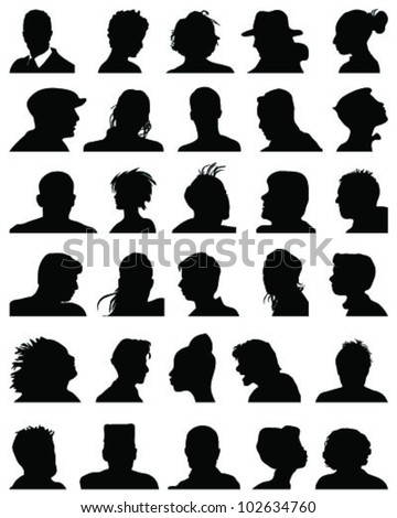 Set of silhouettes of heads 9,vector - stock vector
