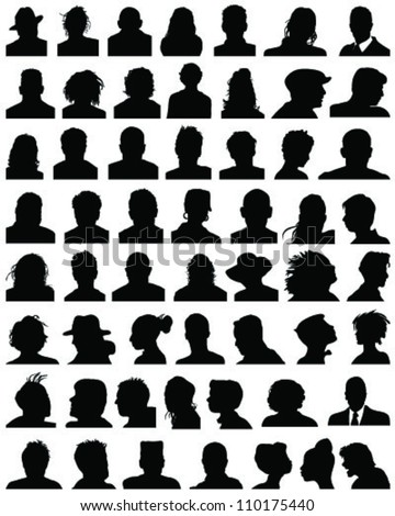 Set of silhouettes of heads 4,vector - stock vector
