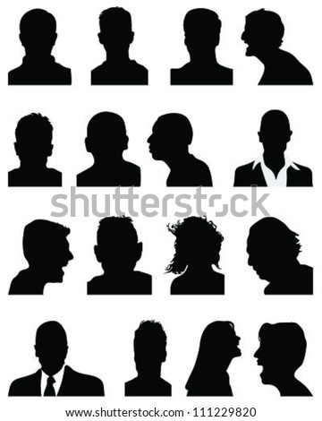 Set of silhouettes of heads 5,vector - stock vector
