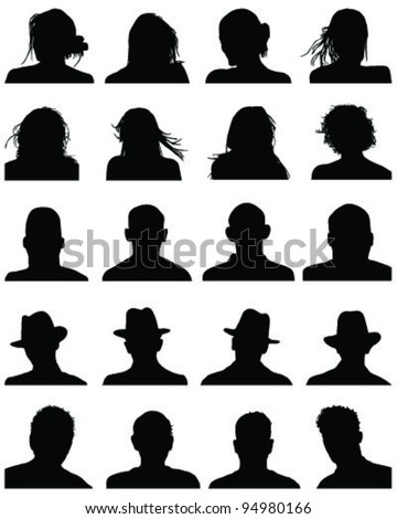 Set of silhouettes of heads 3,vector - stock vector