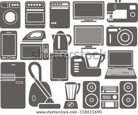 set of silhouettes of household appliances - stock vector