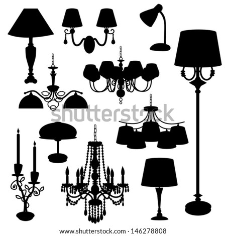 Set of silhouettes of household lamps, floor lamps, candle holder, kitchen chandelier on a white background