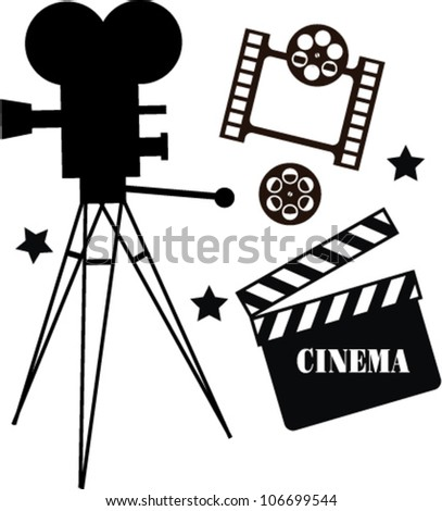 set of silhouettes of movie - stock vector