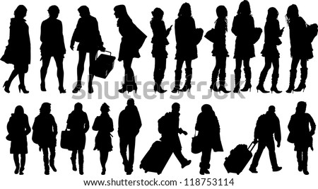 Set of 19 silhouettes of people in action - stock vector